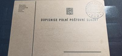Dopisnice polní pošty 1938, nepoužita