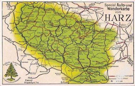 NĚMECKO - HARZ - MAPKA - 21-UX35