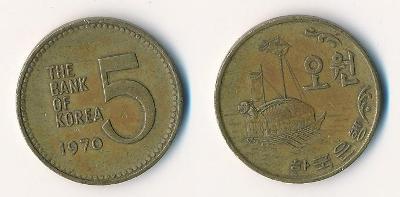 Jižní Korea 5 wonů 1970