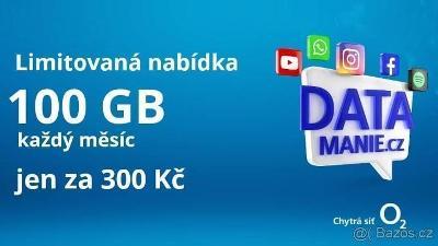 O2 Datamania - 100 GB za 300 Kc - predplacenka