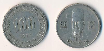 Jižní Korea 100 wonů 1971