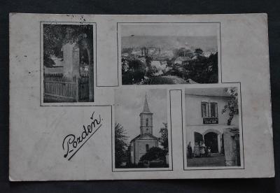 Pozdeň - okres Kladno - 1935 - obchod - lidé - kostel