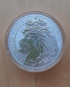Stříbrná 5 oz investiční mince Český lev 2021 reverse proof !!