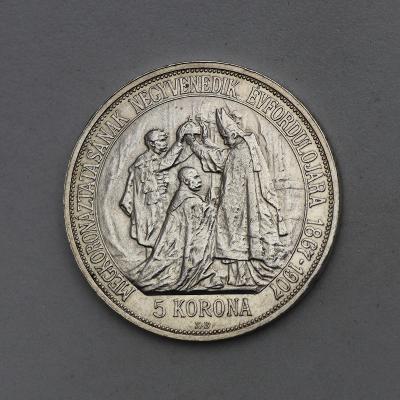 Stříbrná 5 Koruna FJ I. 1907 KB - Korunovační