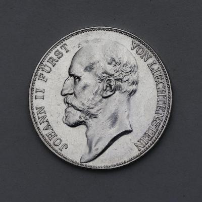Stříbrný 5 Frank 1924 - Johann Furst Liechtenstein - Velmi Vzácný!