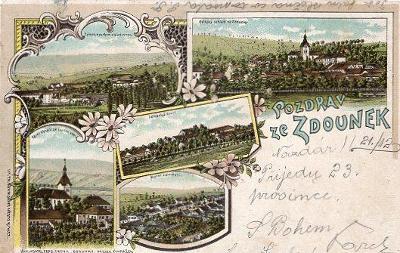 ZDOUNKY ZÁMEK  DA LIT TH BOHM N MĚSTO N MET NÁKL F DĚDEK ZDOUNKY 1898