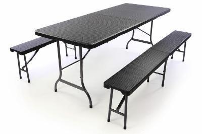 Zahradní set lavice a stůl v ratanovém desig 39509