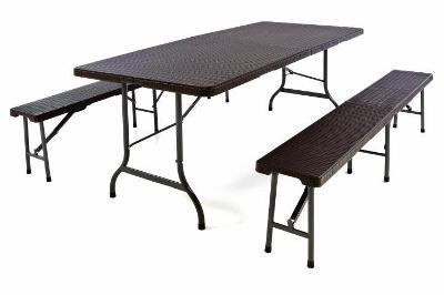 Zahradní set 2 lavice a stůl v ratanovém des 43775