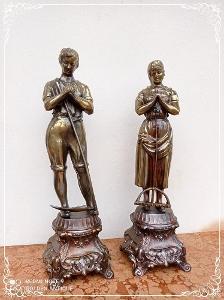 *** Starožitné párové kovové dekorativní sochy ***