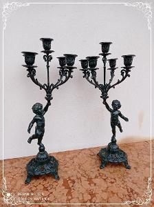 *** Starožitné párové figurální zdobené zámecké svícny ***