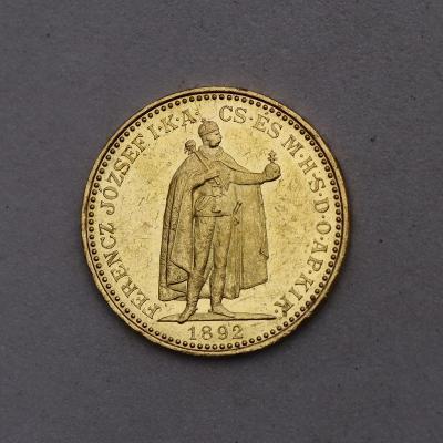 Zlatá 20 Koruna FJ I. 1892 KB - Super!