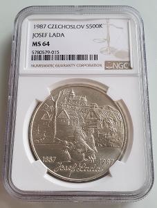 500 KORUNA /JOSEF LADA/1987. - 100.VÝROČI NAROZENI. TOP STAV. MS 64
