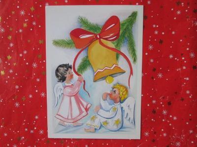 Pohlednice kreslená - VÁNOCE - andílci - děti - zvonek
