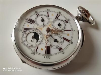Velmi vzácné luxusní stříbrné lunární hodinky
