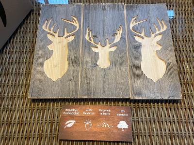 Dřevěné mozaiky 3 kusy z masivního dřeva