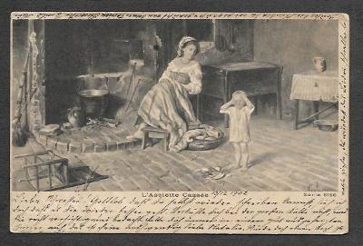 Žena, děcko, pláč, ca 1900