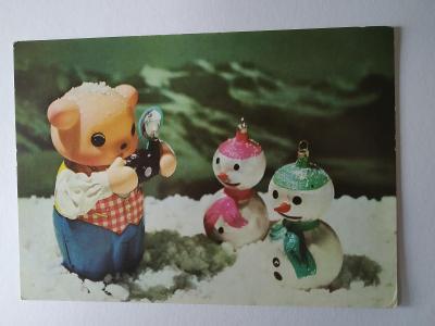 Pohlednice Figurka Prase Fotoaparát Sněhulák Ozdoba Vánoce Vánoční