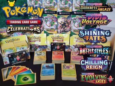 Pokemon TCG karty - vánoční balíčky 1ks / 50 karet včetně Celebrations