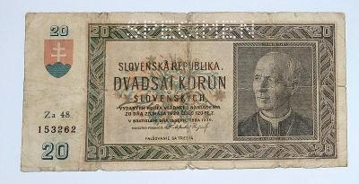 20 Ks rok 1939 séria Za48 perforovaná- slovenský štát