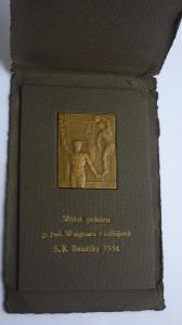 ČSR SPORT PLAKETA ODBÍJENÁ VÍTĚZ POHÁRU SK BENÁTKY NAD JIZEROU 1934