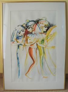 Alena Vitáková akvarel Egyptské hudebnice