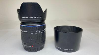 Olympus objektiv 45-200mm + 2x sluneční clona, jedna clona naprasklá