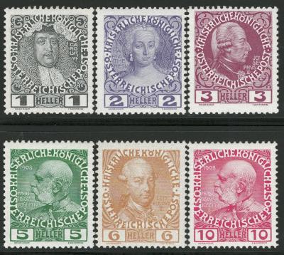 Rakousko / Österreich 1908 - JUBILÄUMSAUSGABE - ANK / Mi. 139 - 144 **