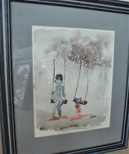 španělský malíř akvarel Valentýn z Barcelony