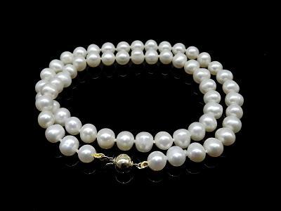 Uzlíkované perly 44cm- zlatý 14kt uzávěr