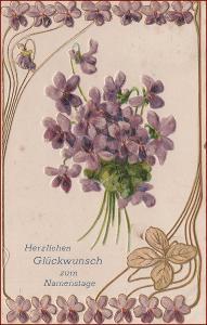 Květiny * fialky, kytice, čtyřlístek, ornament, tlačená * M1138