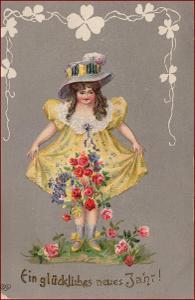 Děti * děvče, šaty, klobouk, květiny, lakovaná, Nový rok * M1143