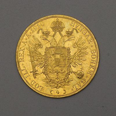 Zlatý Čtyřdukát FJ I. 1910 bz - Hledaný!