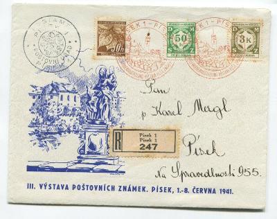 R dopis PÍSEK 1 - Výstava poš. známek 1941-příl. obálka s razítky