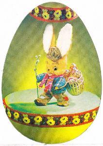 Oválná velikonoční pohlednice