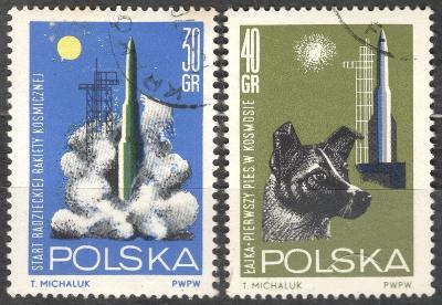Polsko 1964 Mi 1554-1555 kosmos, raketa, pes Lajka