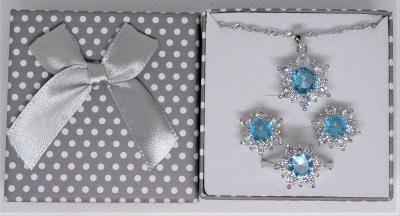 Krásný stříbrný setík s modrými zirkony - aukce od koruny!
