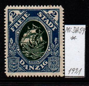 Německo- Danzig 1920 Mi.: 59*