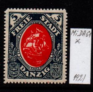 Německo- Danzig 1920 Mi.: 61*