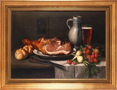 F.VAN DEN DAELE(1861-1930) Zátiší s chlebem, šunkou, pivem a zeleninou