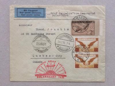 Švýcarsko - Kanada polární let přes Leningrad 1931 Graf Zeppelin