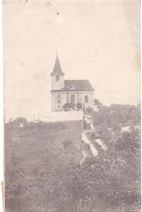 Pozdrav ze Šárky-Chrám páně sv.Matějě,prošla poštou