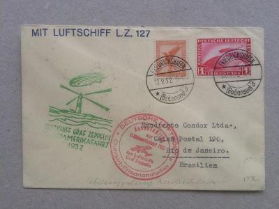 Německo 6. let 1932 Graf Zeppelin do Jižní Ameriky