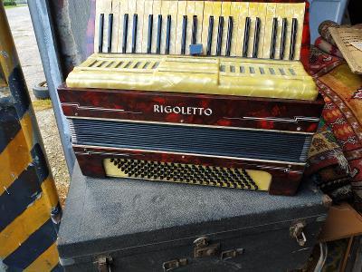 Starožitná RIGOLETTO tahací harmonika,akordeon v dřevěném pouzdře