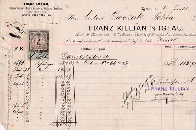 Účet koloniál Franz Killian, Jihlava