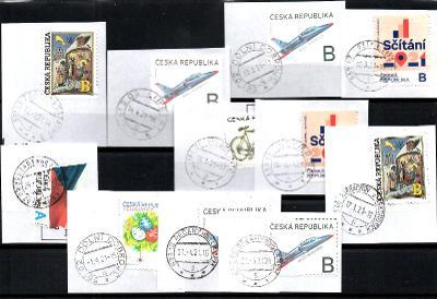 Sestava vybraných ručních razítek na známkách ČR, PSČ 5xx xx (r138)