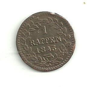 1 Rappen  Švýcarsko Luzern 1843