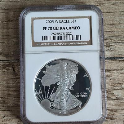 Stříbrná investiční mince  American Eagle 1 Oz 2005 PF70 Ultra Cameo