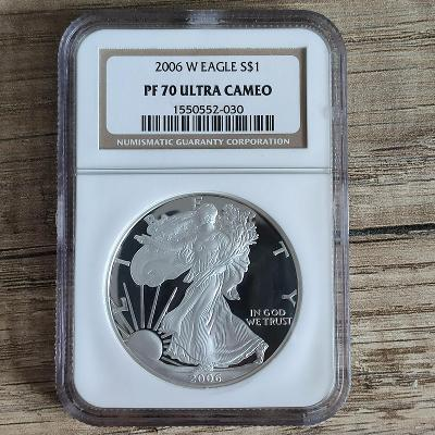 Stříbrná investiční mince  American Eagle 1 Oz 2006 PF70 Ultra Cameo