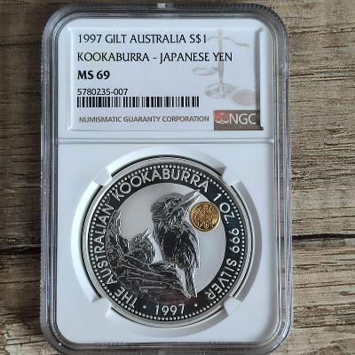Stříbrná investiční mince 1 Oz 1997 Kookaburra Yen Privy - NGC MS69