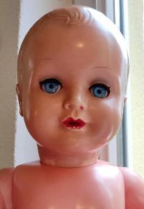 Sběratelská panenka - modré skleněné oči - značena - 50 cm